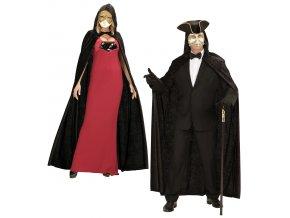 Černý plášť s kapucí sametový