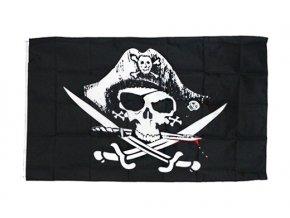 Pirátská vlajka Lebka a šavle (150x90cm)