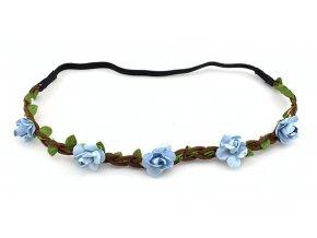 Květinová čelenka světle modrá