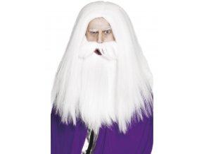 Bílá paruka s vousy Kouzelník