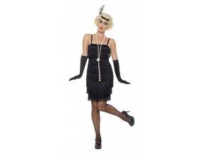 Černé šaty s třásněmi 30. léta