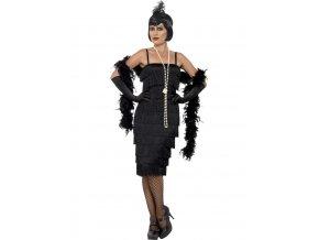 Černé šaty s třásněmi 30. léta (dlouhé šaty)