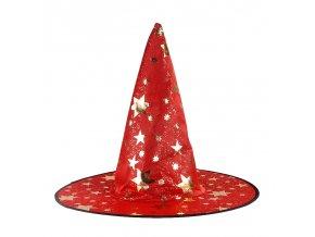 Čarodějnický klobouk červený s hvězdami