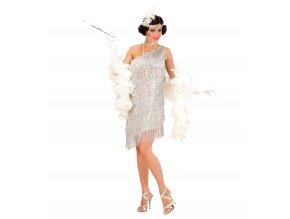 Dámský kostým Flapper stříbrný