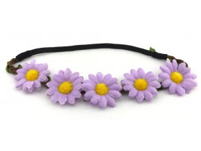 Květinová čelenka Kopretiny fialové