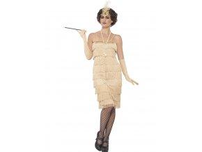 Zlaté šaty s třásněmi 30. léta (dlouhé šaty)