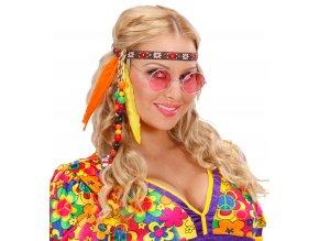 Hippie čelenka s korálky a peřím