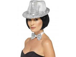 Flitrový klobouk stříbrný