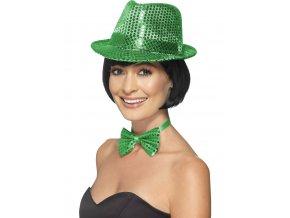 Flitrový klobouk zelený