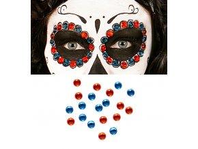 Nalepovací kamínky Sugar Skull (červené, modré)
