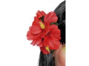 Havajský květ do vlasů červený