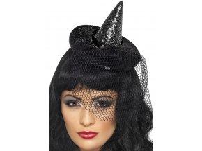 Čarodějnický mini klobouk se síťkou