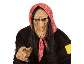 Gumová maska čarodějnice s vlasy