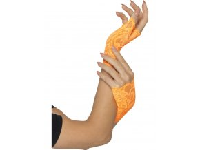 Krajkové rukavice bez prstů oranžová Neon