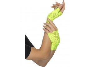 Krajkové rukavice bez prstů zelená Neon