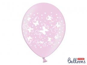 Balónek s motýlky Růžový, 30 cm