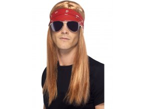 Paruka Rocker s šátkem a brýlemi