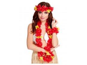 Havajský věnec, čelenka a náramky červeno-žlutý