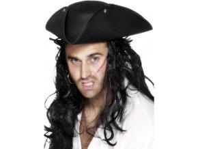 Pirátský klobouk třírohák černý