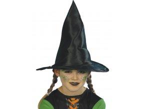 Dětský čarodějnický klobouk černý lesklý