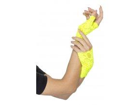 Krajkové rukavice bez prstů žlutá Neon