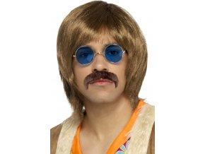 Hippie paruka s doplňky hnědá 60.léta