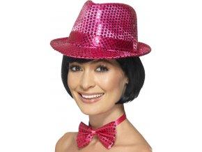 Flitrový klobouk růžový