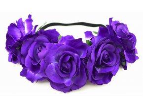 Květinová čelenka růže fialová