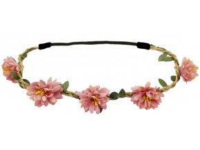 Květinová čelenka růžová vintage