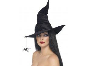 Čarodějnický klobouk s pavoukem (černý samet)