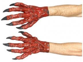 Čertovské ruce rukavice červené
