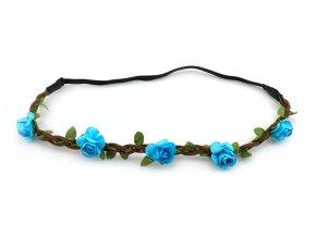Květinová čelenka modrá