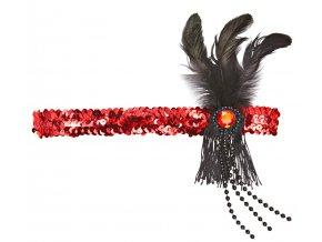 Flapper čelenka s peřím červená