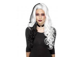 Paruka čarodějnice černobílá