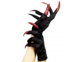 Černé rukavice s červenými nehty