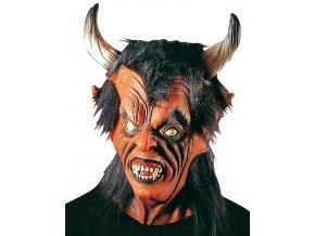 Strašidelná maska čerta s velkými rohy