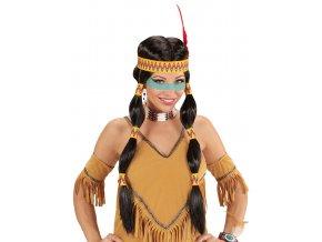 Dámská černá paruka Indiánka