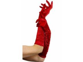Dlouhé rukavice červené nařasené