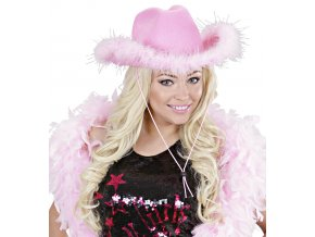 Kovbojský klobouk růžový s marabou