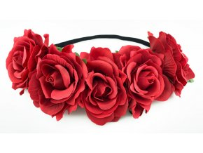 Květinová čelenka růže červená