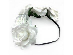 Květinová čelenka bílé růže