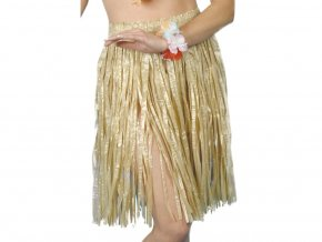havajská hula hula sukně béžová krátká