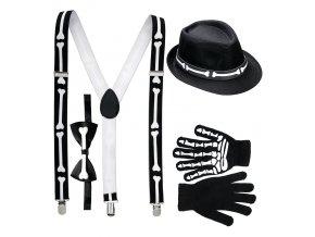Sada Kostlivec - klobouk, rukavice, kšandy a motýlek