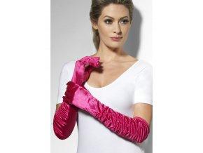 Dlouhé rukavice růžové nařasené