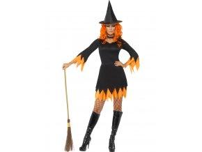 Dámský kostým Čarodějnice černo-oranžový
