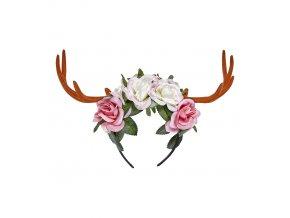 Čelenka s květinami a parůžky