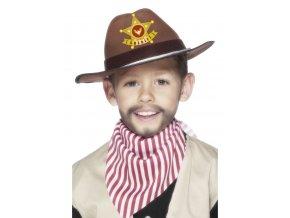 Dětský kovbojský hnědý klobouk Šerif