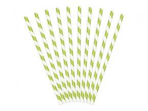 Papírová brčka zelená, 10ks