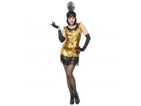 Dámský kostým Charleston zlatý (Dámská velikost XS (34-36))