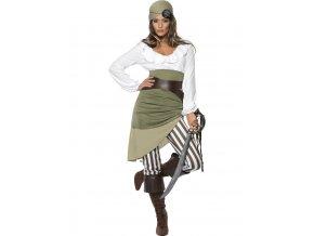 Dámský kostým Pirátka (zelená)